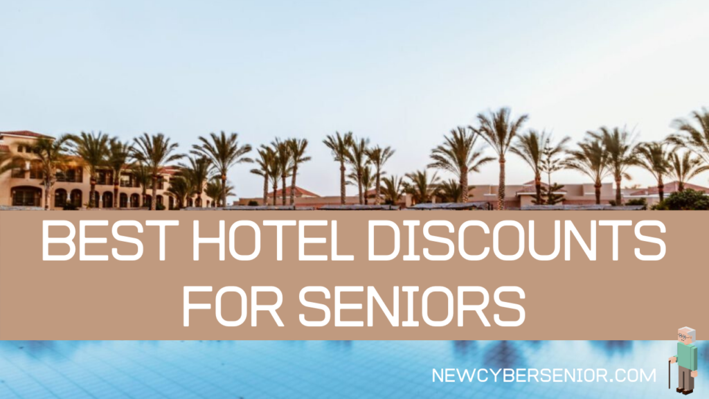 Hotel Discounts for Seniors - Hotel backdrop with palm trees and a extra large in ground pool