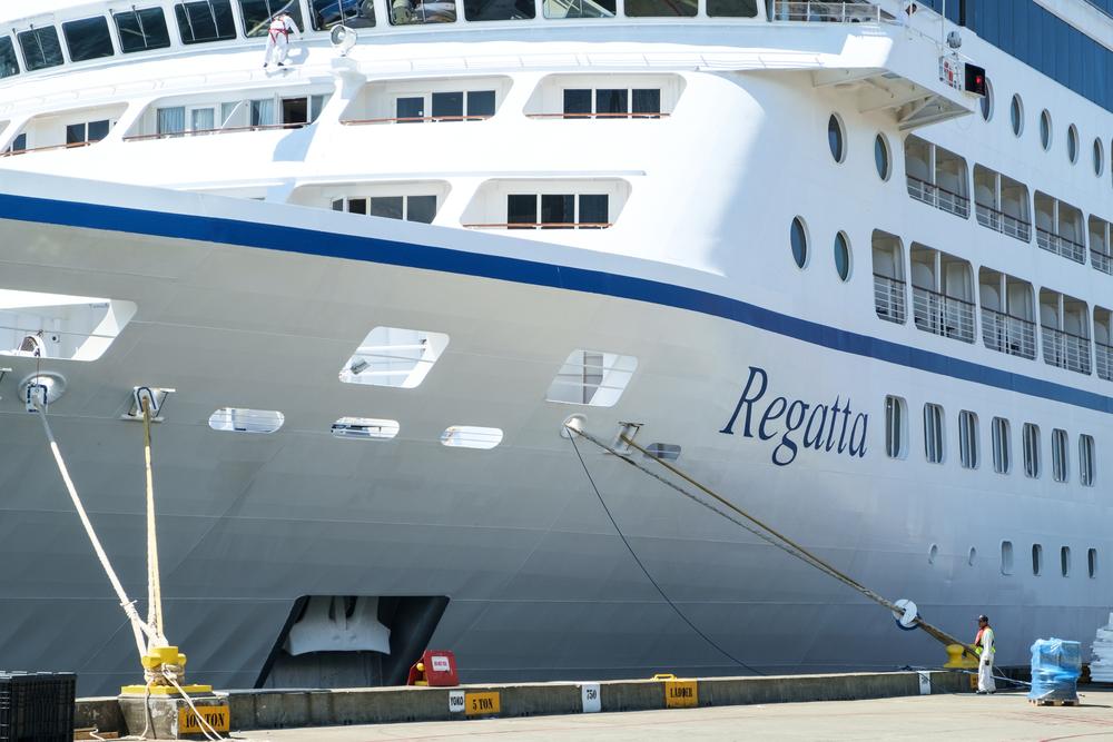 Oceania Regatta cruise ship docked for repairs