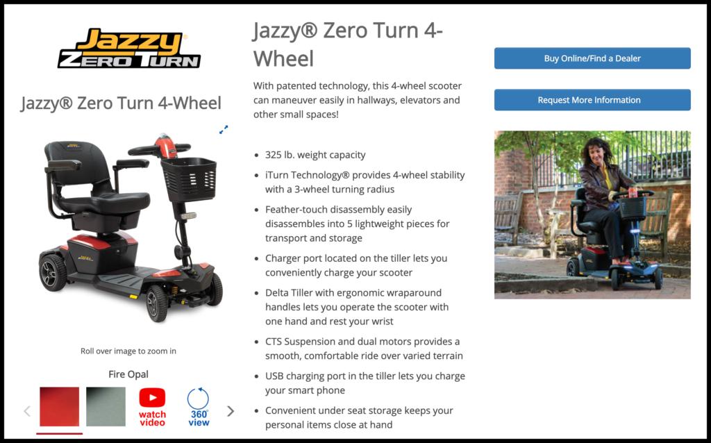Pride Jazzy Zero-Turn Scooter