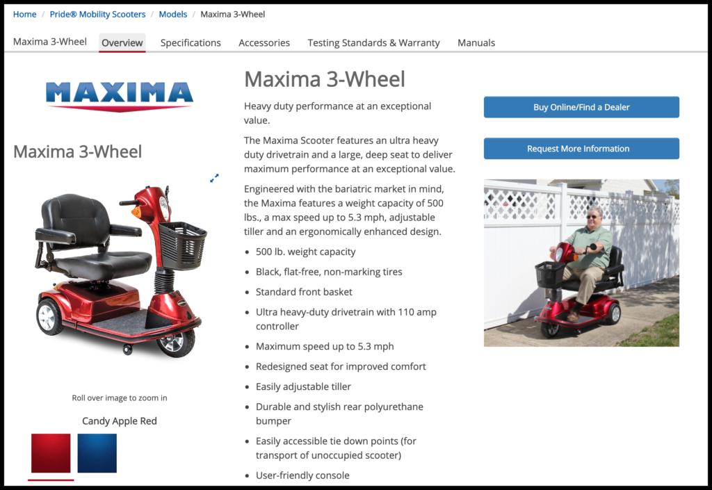Pride Maxima Three-Wheel Scooter