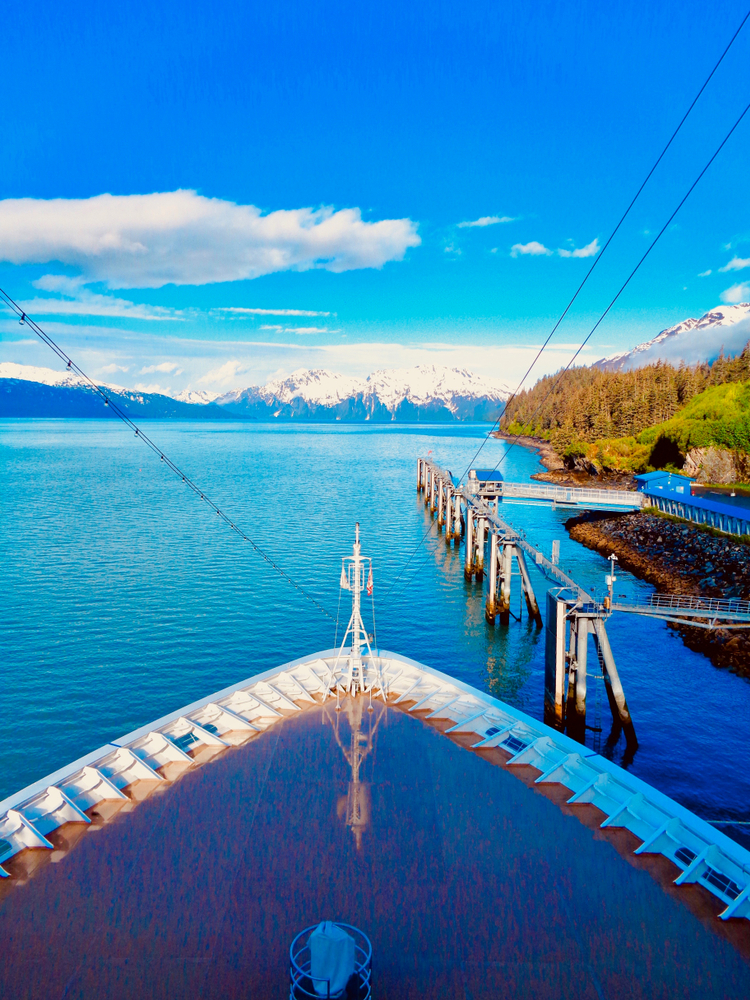Prince William Sound from the front of the Viking Orion cruise ship docked in Valdez, Alaska