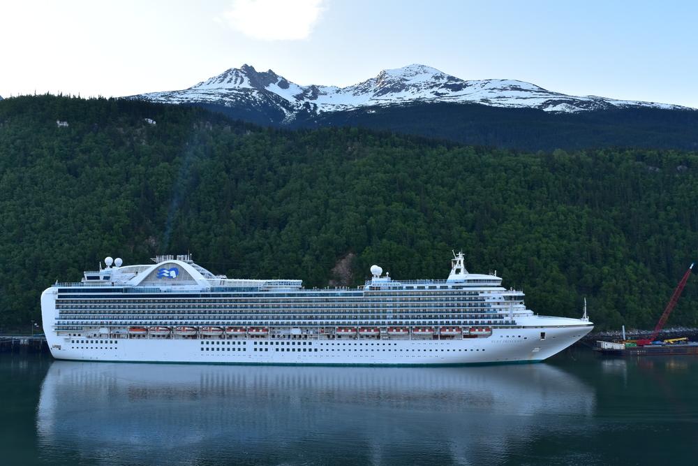 Ruby Princess of Princess cruises makes a stop at Skagway, Alaska