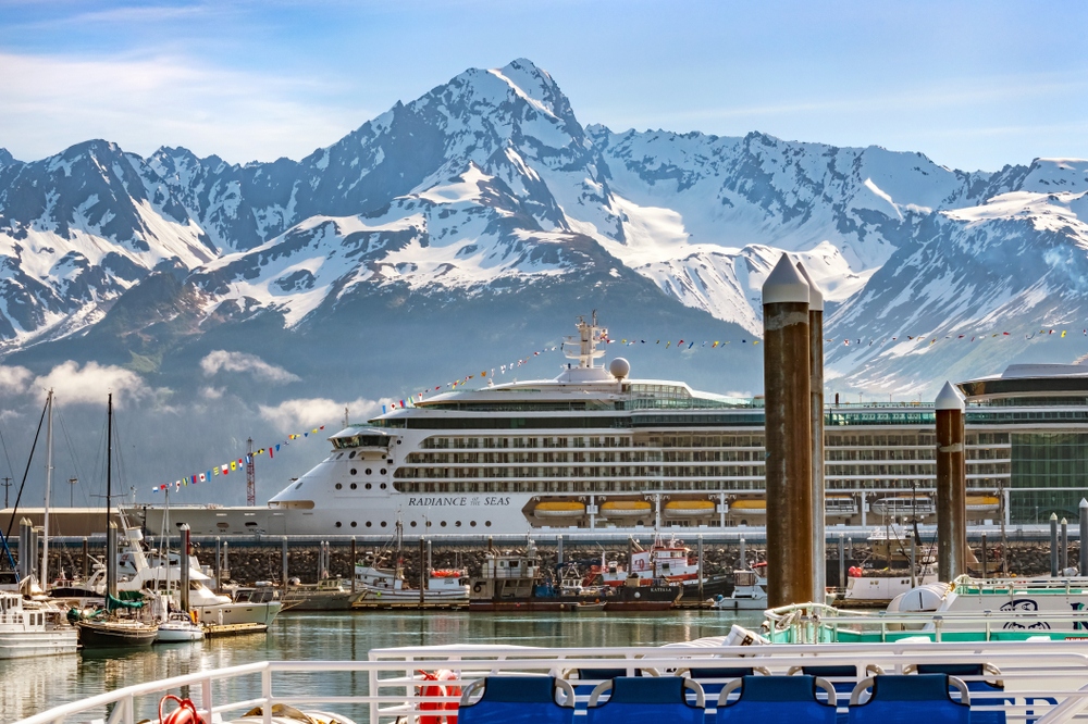The Radiance of the Seas, A Royal Caribbean cruise ship in Alaska docked