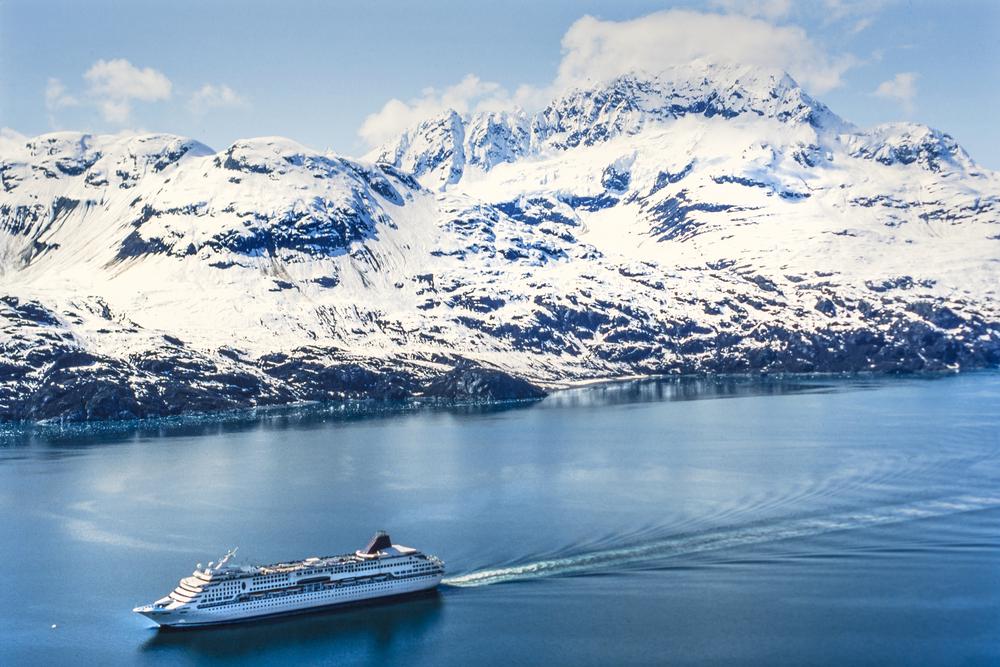 aerial photo of norwegian wind cruise ship in alaska