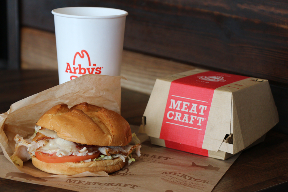 arby's fast food sandwich and soft drink
