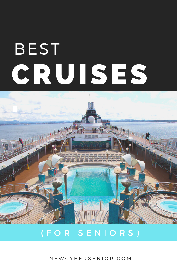 cruise ship from the inside with pools, spa, deck, chairs, and the ocean view