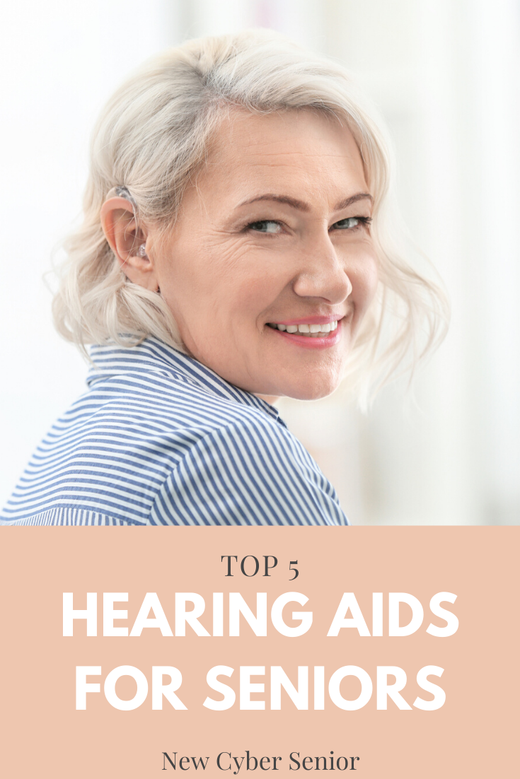 attractive older woman with platinum hair wearing a hearing aid