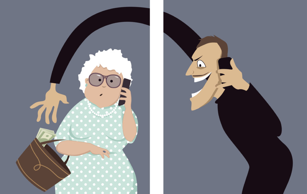 cartoon of thief taking money from an old lady's purse