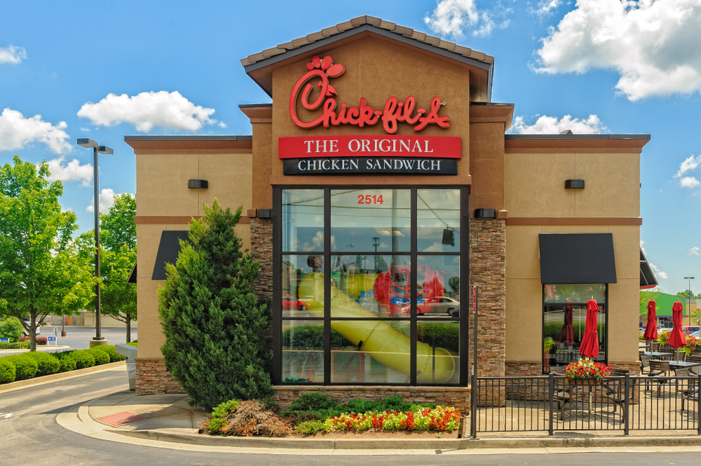chick-fil-a fast food restaurant with large glass windows and play area for children inside