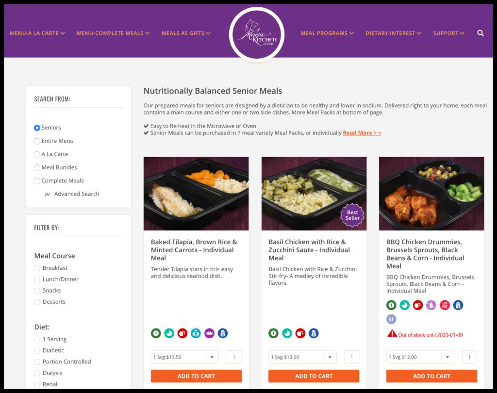 magic kitchen senior meals screenshot