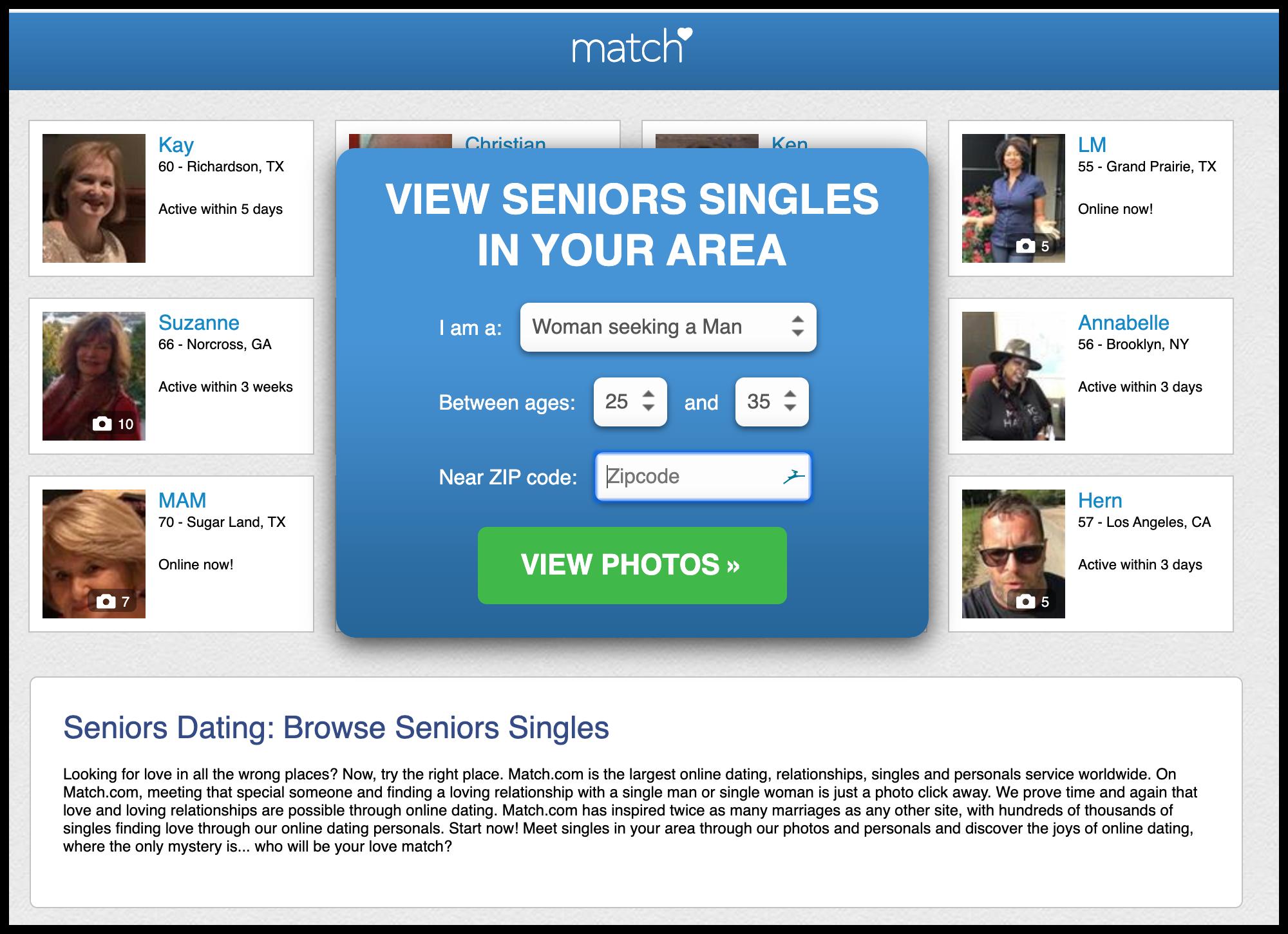 match.com senior dating website