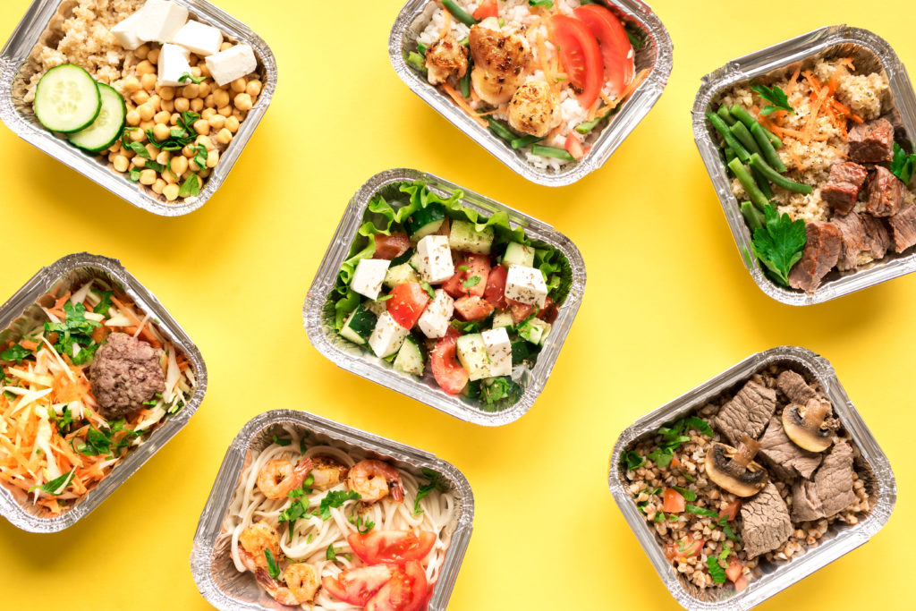 meal delivery on yellow background
