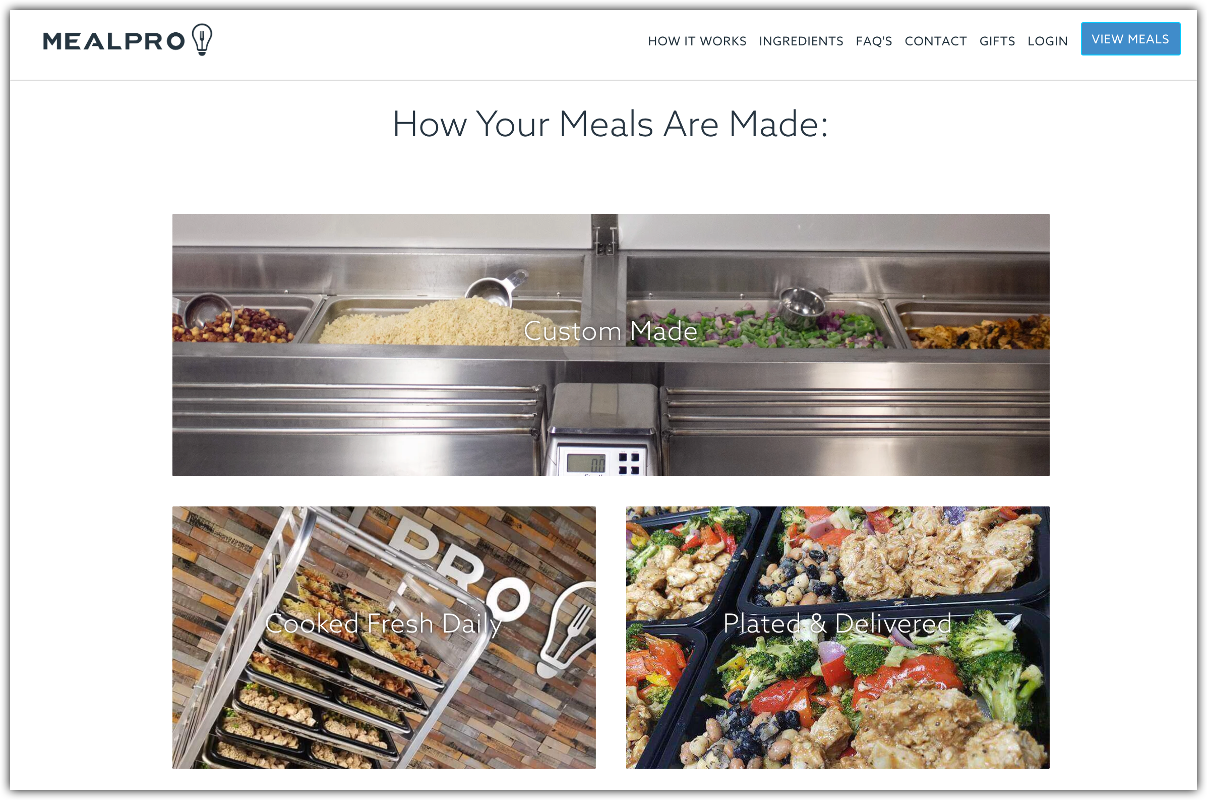 mealpro homepage screenshot