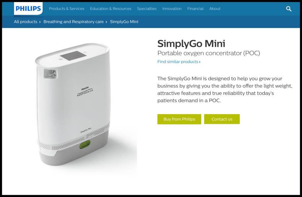 philips simpligo portable oxygen device