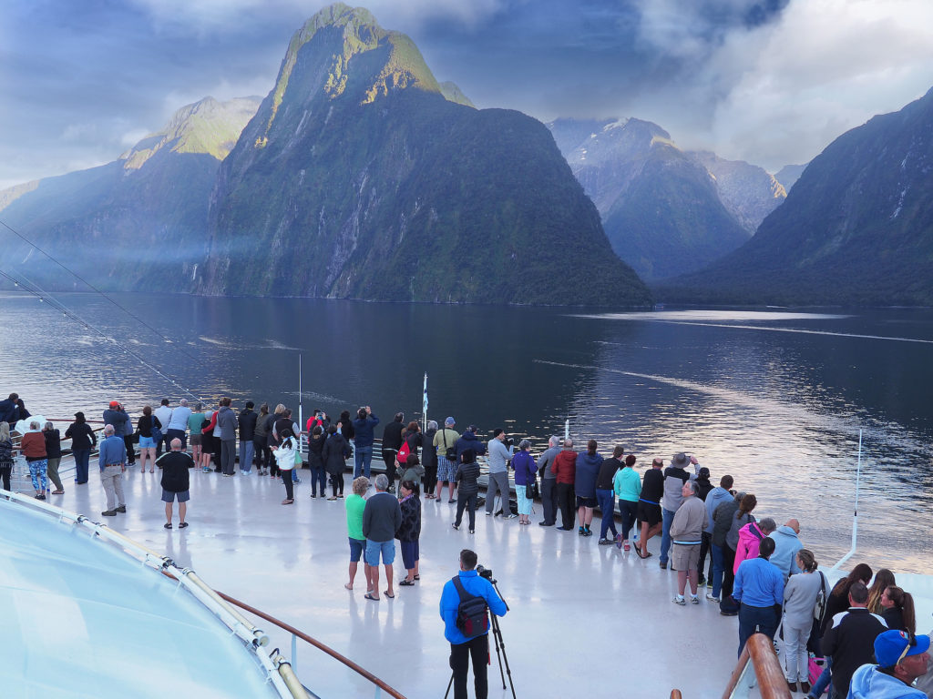 pincess cruise ship with people on deck viewing world heritage site in New Zealand