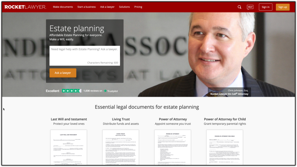 rocket lawyer estate planning
