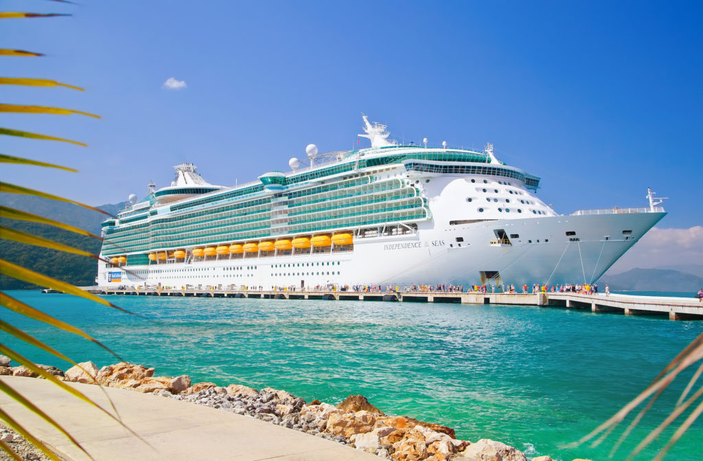 Royal Caribbean cruise ship docked at Labadee showing the clear skies and ocean