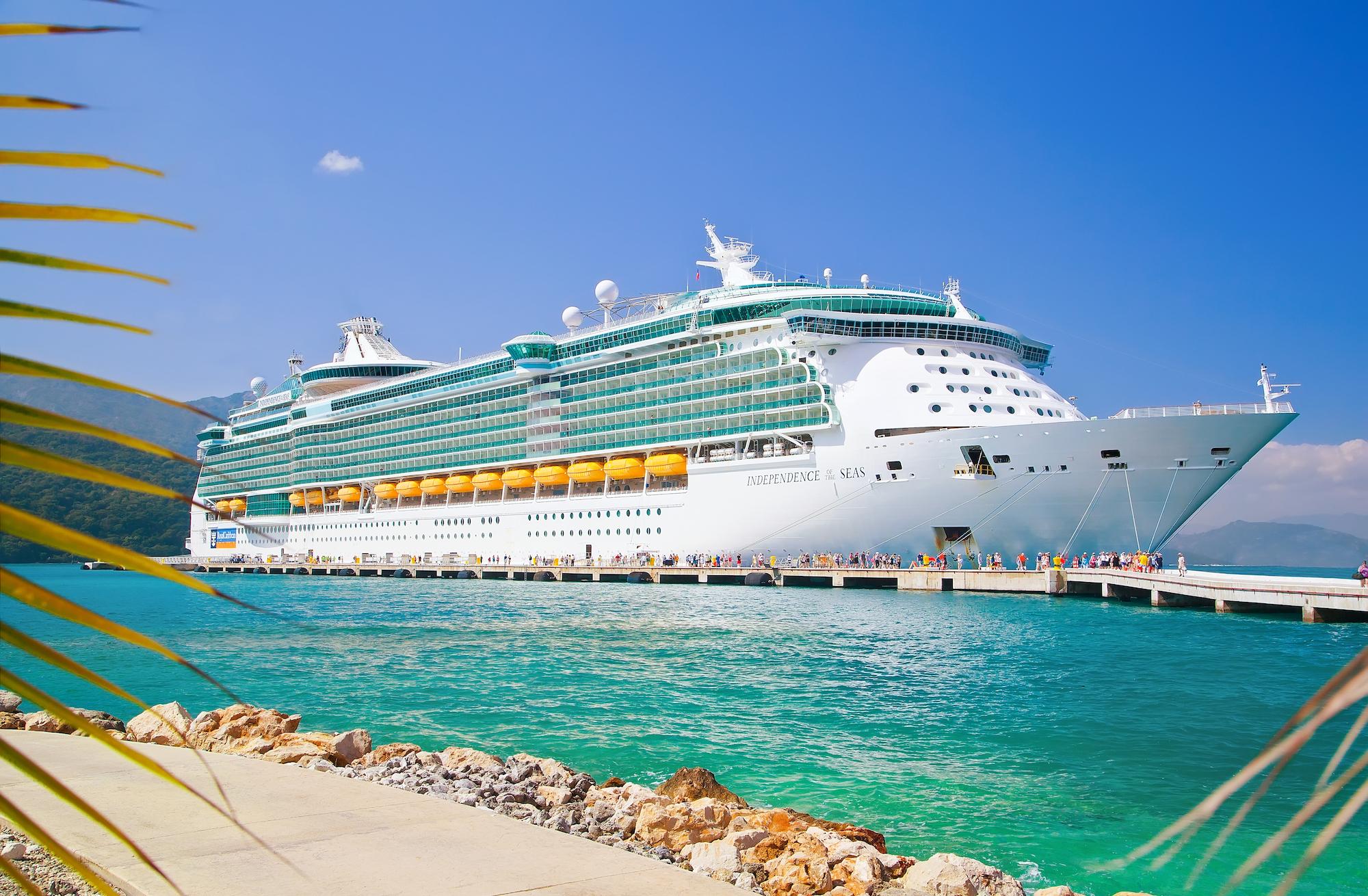royal caribbean independence of the seas ship docked at Labadee