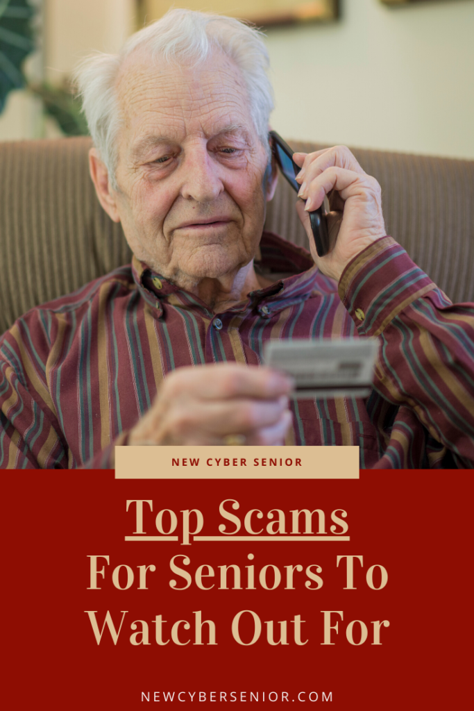 senior with credit card talking to a scammer on the phone