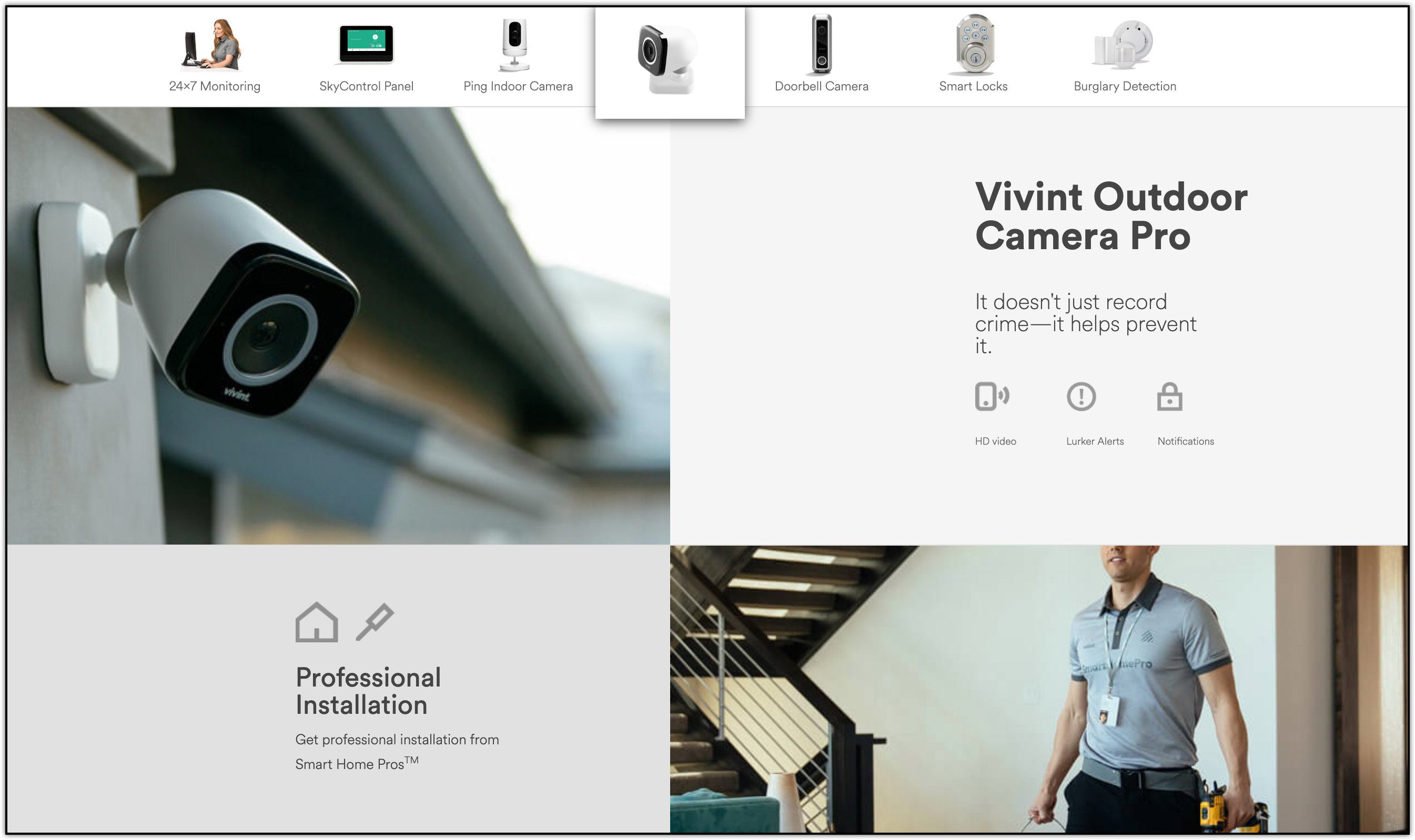 vivint outdoor security camera and professional installation