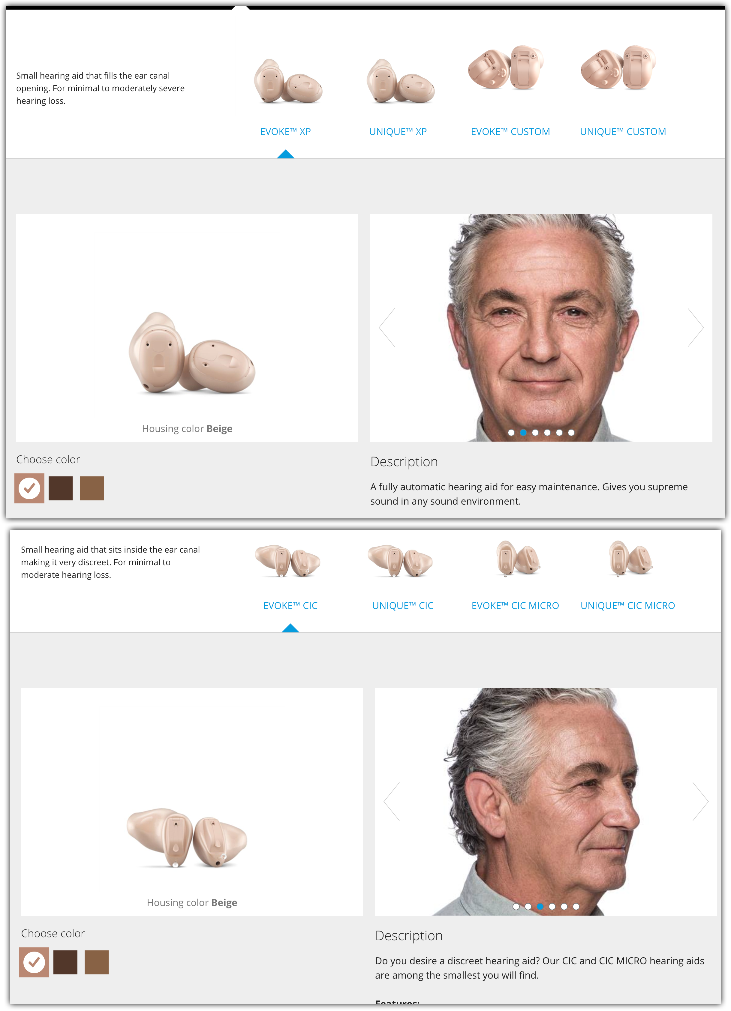 two images of widex hearing aids evoke XP and unique XP. Two versions of inside-the-ear hearing aids
