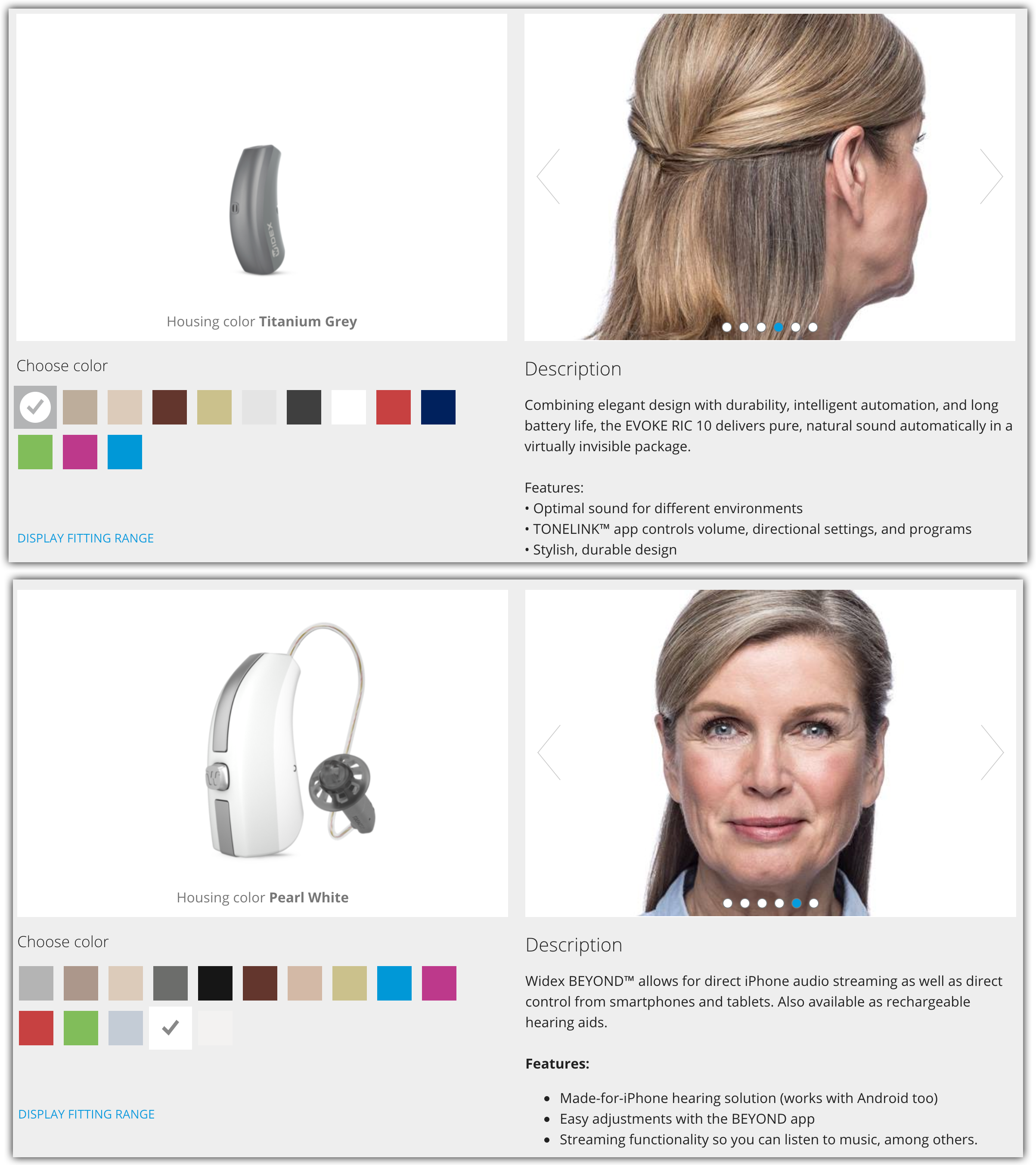 two versions of behind-the-ear hearing aids including Evoke and Beyond models. The Beyond model has iphone connectivity
