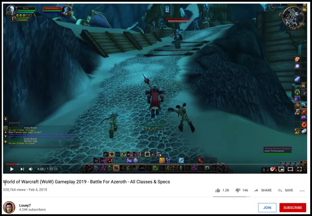 world of warcraft youtube screenshot