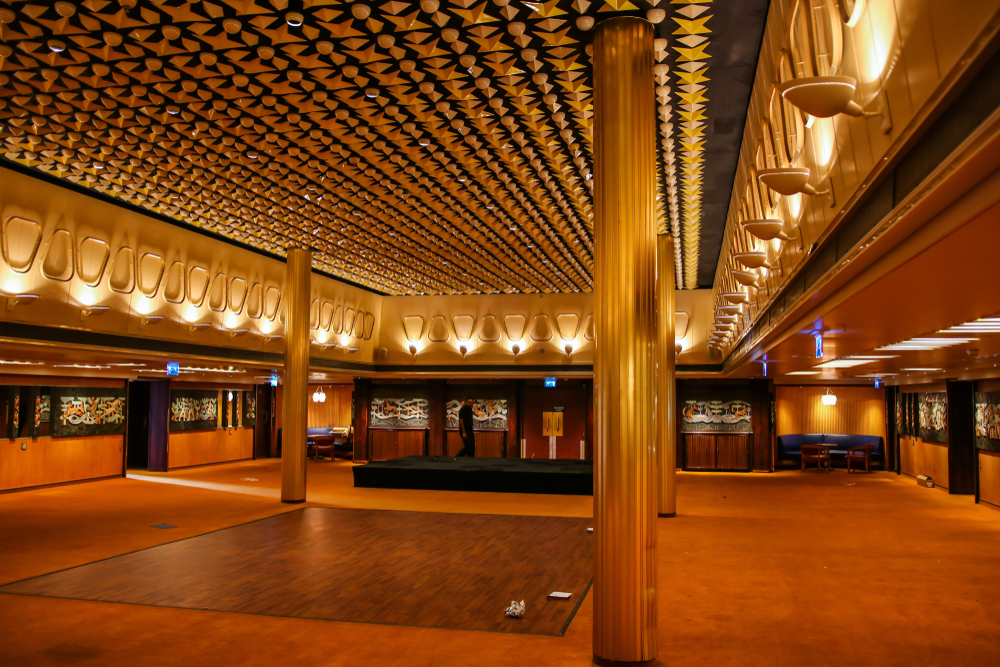 Beautiful ceiling of a ballroom inside the ss Rotterdam, which was the biggest ship of the Holland-America line