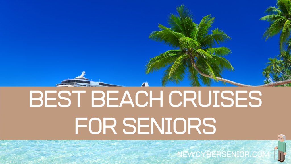 Best Beach Cruises for Seniors - showing a cruise ship on a beach with palm trees