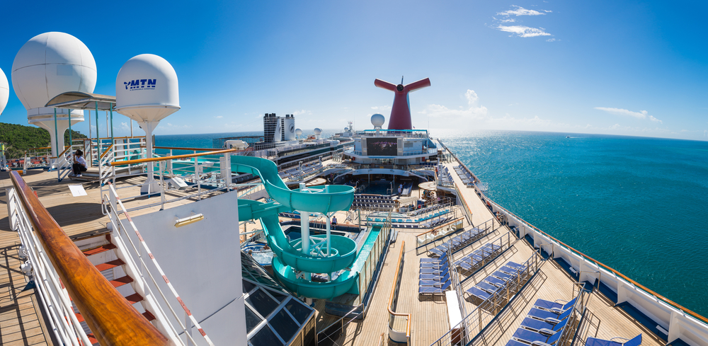 Carnival Cruise Ship deck showing the waterslide