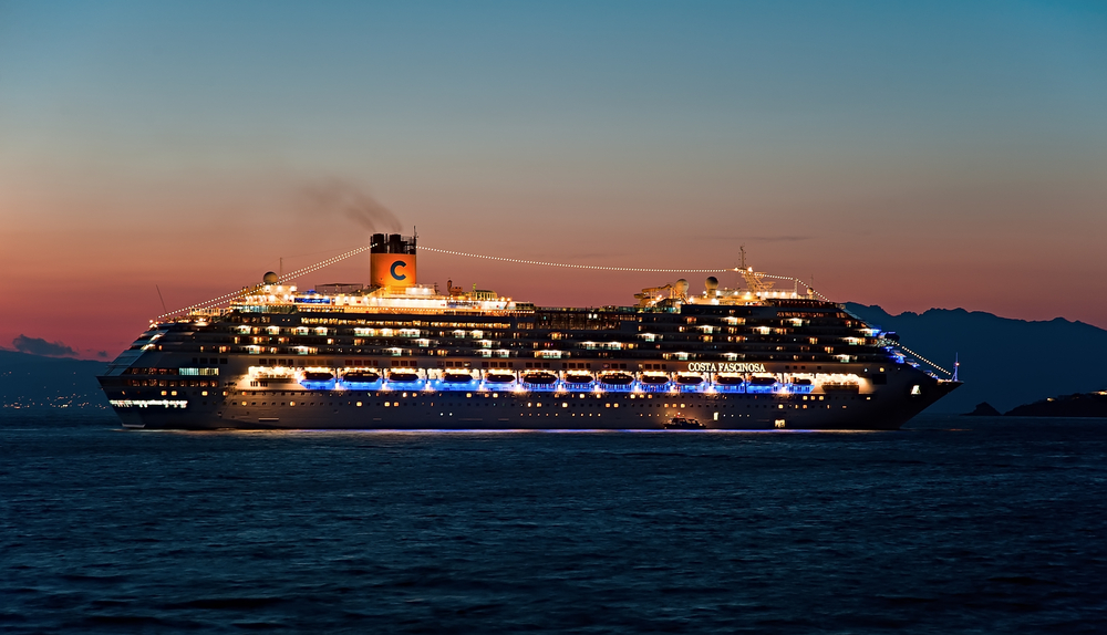 Costa Cruise Ship at Night with lights on