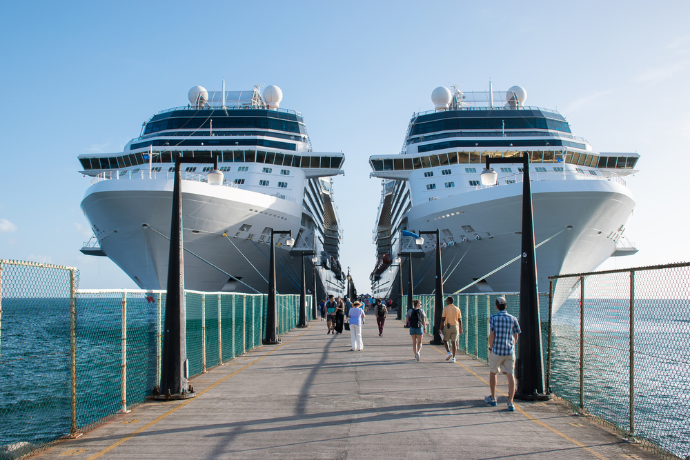 Cruise ships Celebrity Silhouette and Eclipse docked in port of Basseterre, St. Kitts, the Caribbean