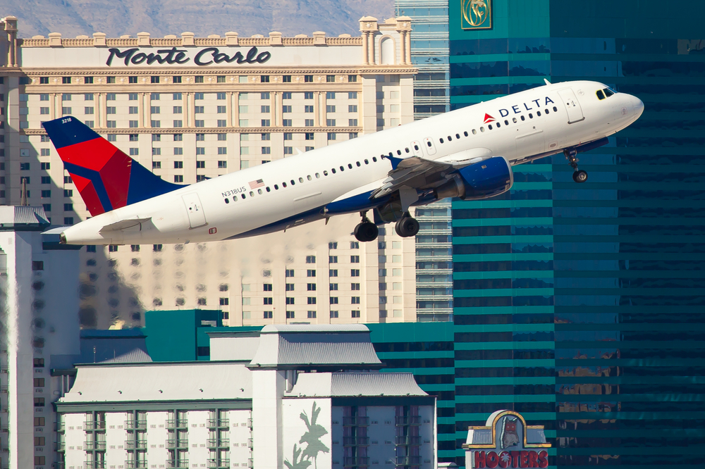 Delta Airlines plane taking off in Monte Carlo