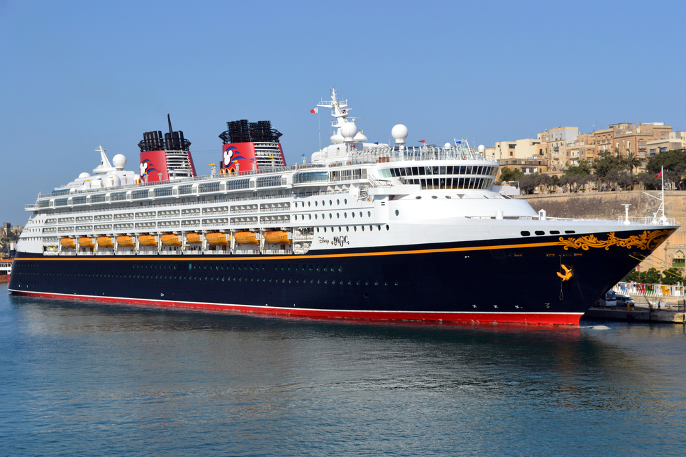Disney Magic cruise line in harbor at the port of Valetta