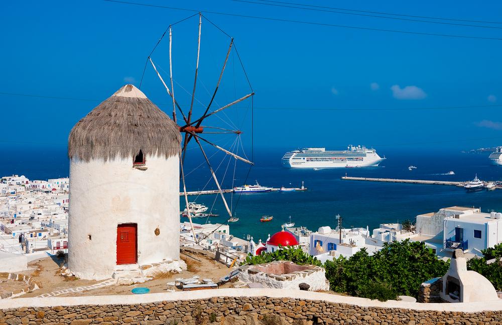 A cruise ship off the coast of Mykonos