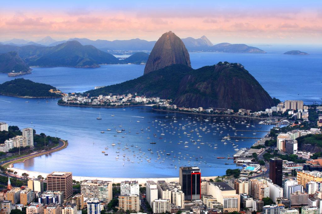 Rio de Janeiro beach is next to the city.