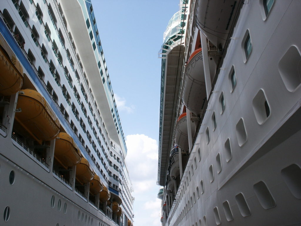 Two docked cruise ships.