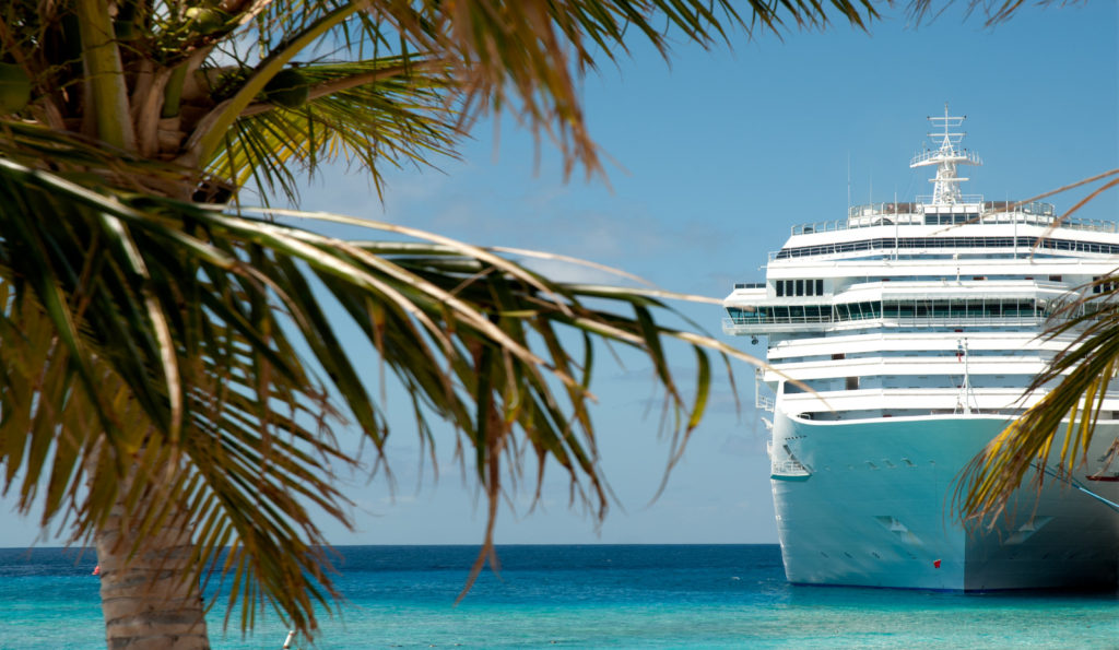A cruise ship with palm trees in the foreground.