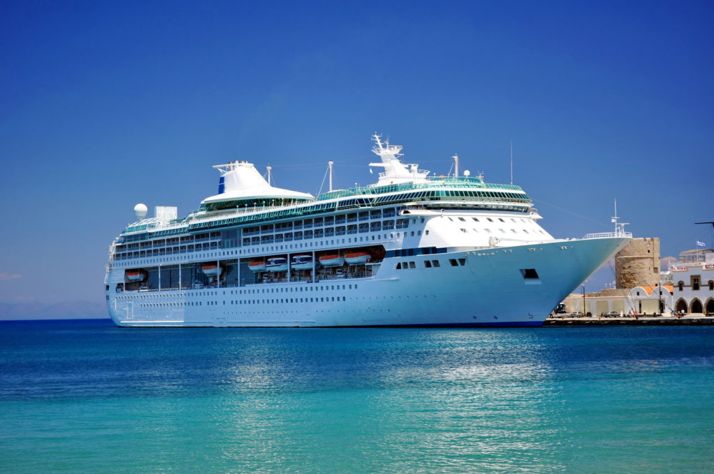 A big cruise ship on the water of the Mediterranean.