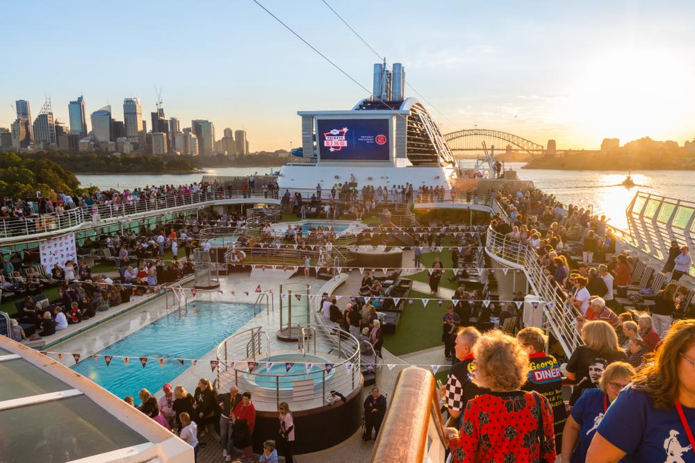 elderly woman on P&O cruise in Sydney Australia