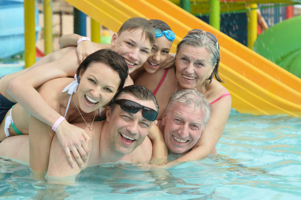 A family at a waterpark.
