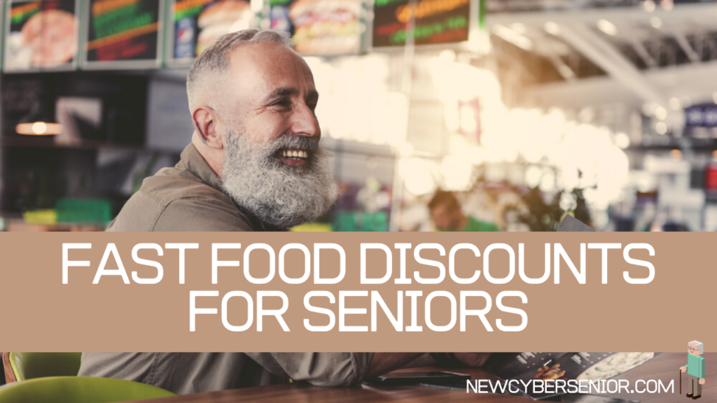 senior man getting a discount at a fast food restaurant
