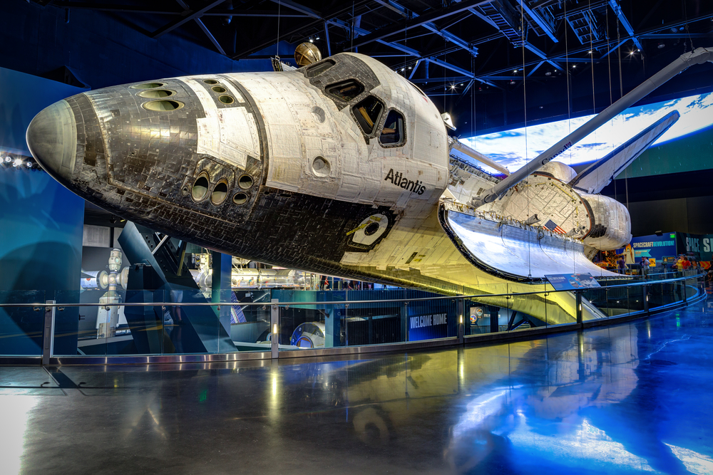 space shuttle in the kennedy space center in florida