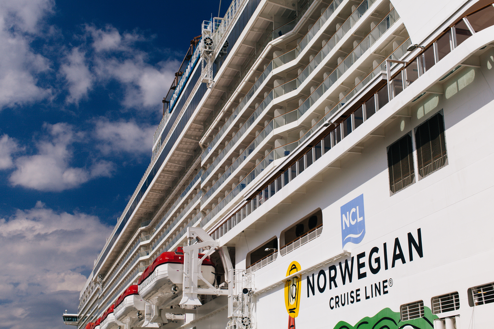 norwegian cruise lines close photo of logo on side of ship