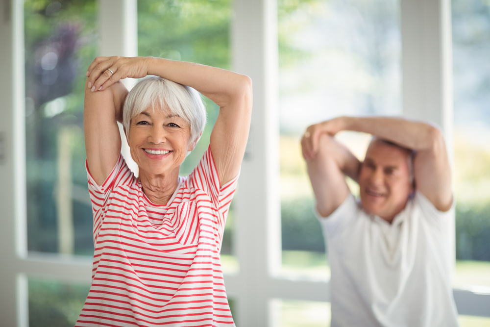 seniors stretching to relieve neck pain
