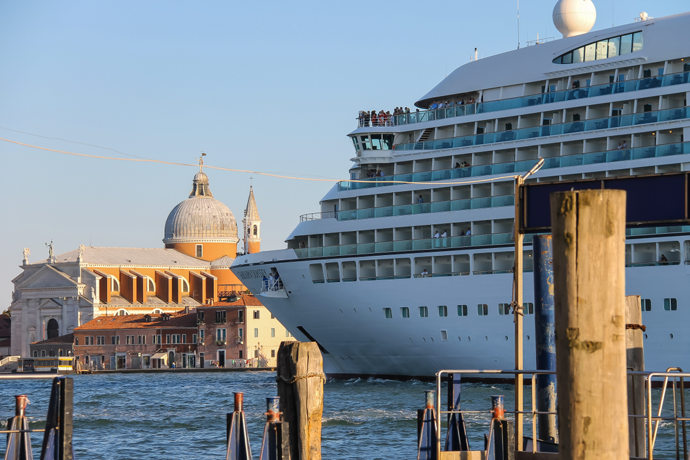 A Seabourn cruise ship in Venice, Italy