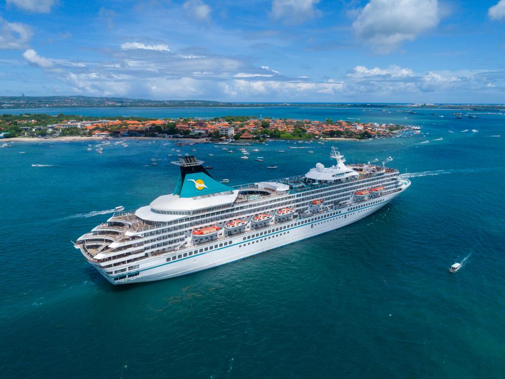 A cruise ship docked in Bali
