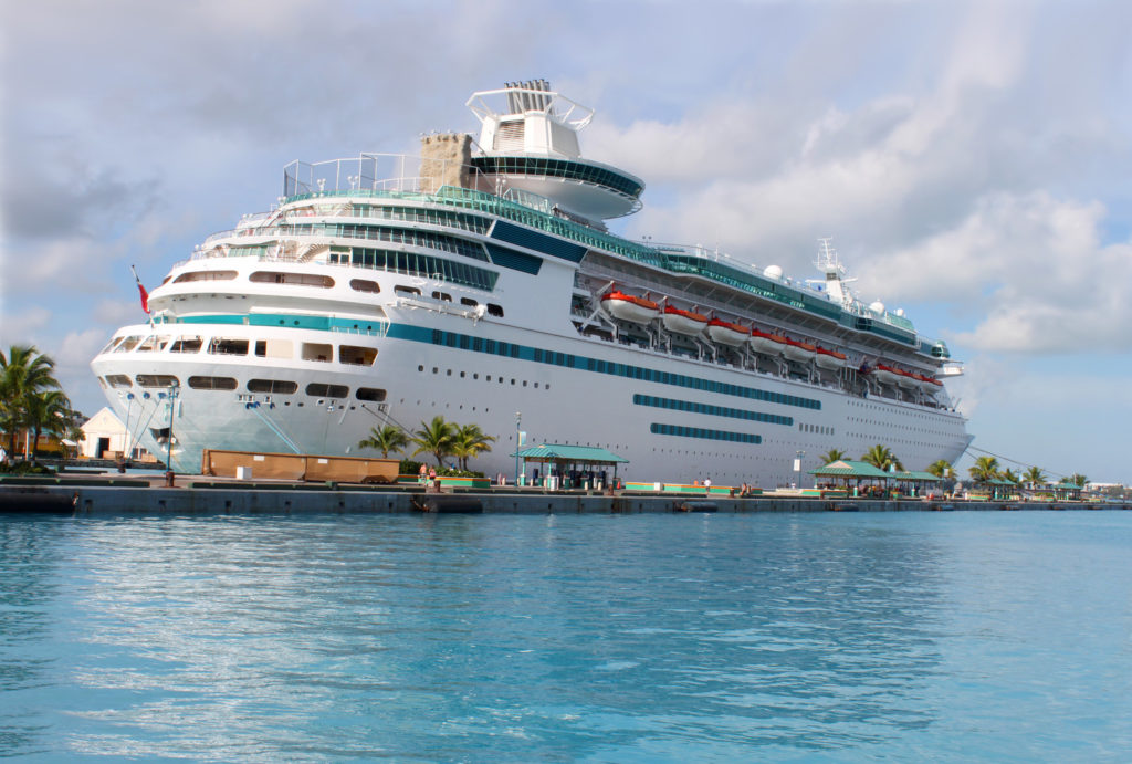A cruise ship docked in the Bahamas.