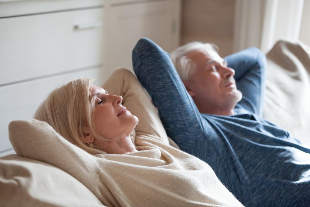 A senior couple resting