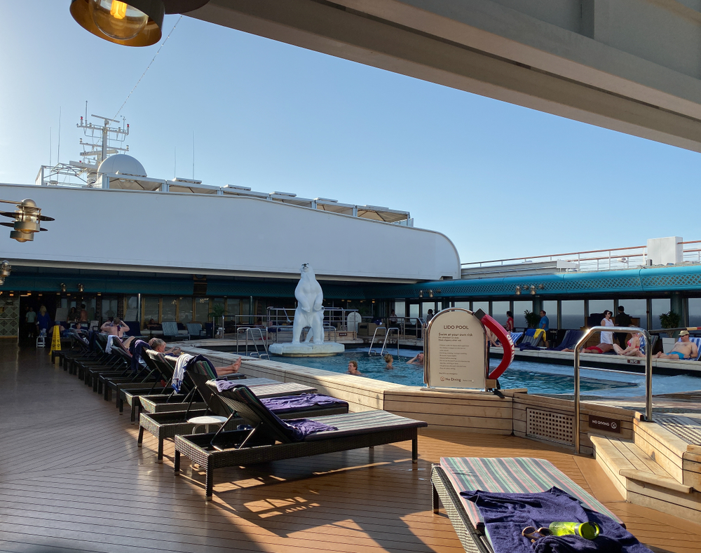 An shot from deck of a Holland America cruise ship